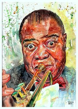 Louis Armstrong Portrait Painting by Suzann Sines