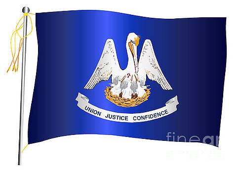 Louisiana State Waving Flag And Flagpole by Bigalbaloo Stock