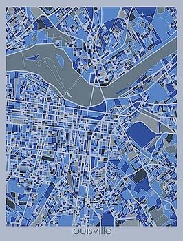 Louisville Map Retro 5 by Bekim M