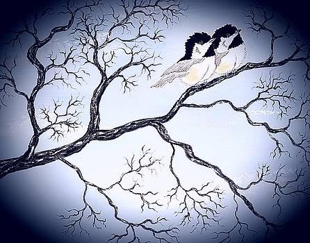 Love birds dark vibrant by Angela Whitehouse