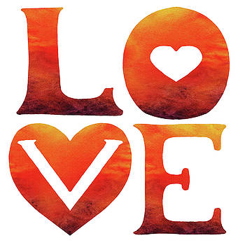 Irina Sztukowski - Love Sign Hot Watercolor Silhouette Letters Hearts