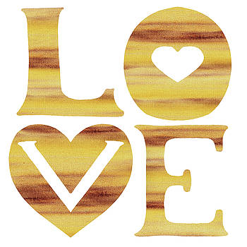 Irina Sztukowski - Love Sign Soft Beige Watercolor Silhouette Letters Hearts