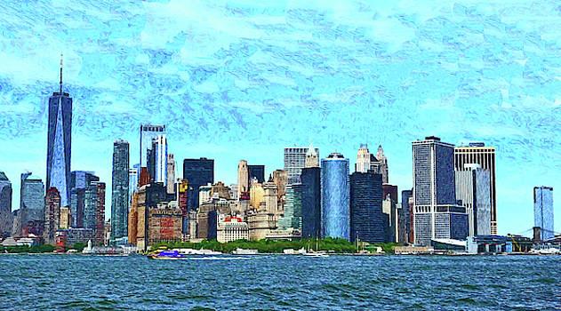 Lower Manhattan Skyline - Photopainting by Allen Beatty