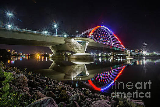 Lowry Ave Bridge in Red and White by Habashy Photography
