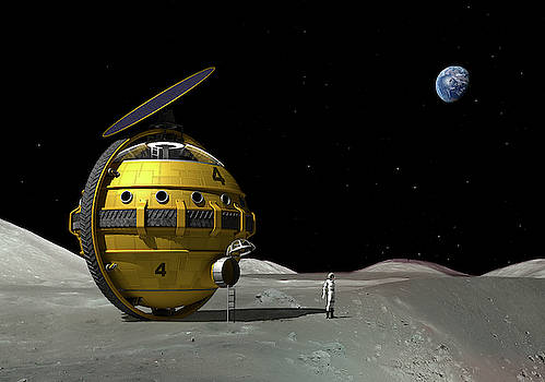Lunar Unicycle beside a crater by Nick Stevens