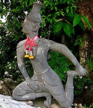 Lunging Reusi Dat Ton Statue at Wat Po, Bangkok, Thailand by David Wells