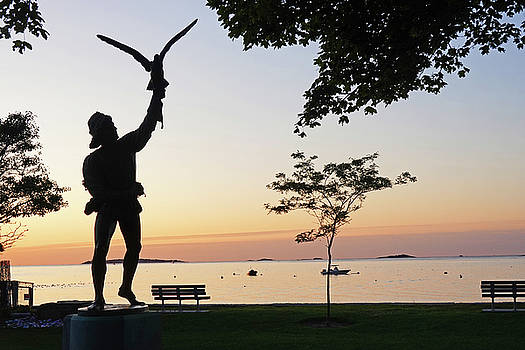 Toby McGuire - Lynch Park Statue at Sunrise Beverly MA trees
