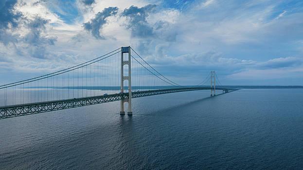 Mackinac Bridge Michigan Aerial Number 1 by Steve Gadomski