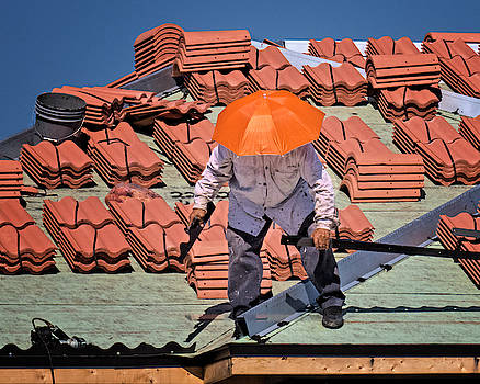 Mad Dogs and Englishmen - Roofer at Work by Mitch Spence