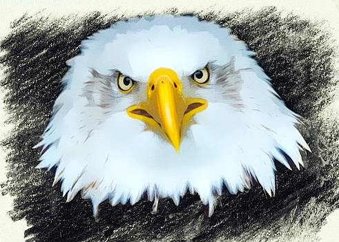 Mad Eagle Color Sketch Portrait by Scott Wallace Digital Designs