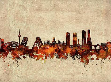 Madrid Skyline Sepia by Bekim Art