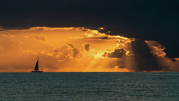 Magnificent Sailboat Sunrise II Delray Beach Florida by Lawrence S Richardson Jr