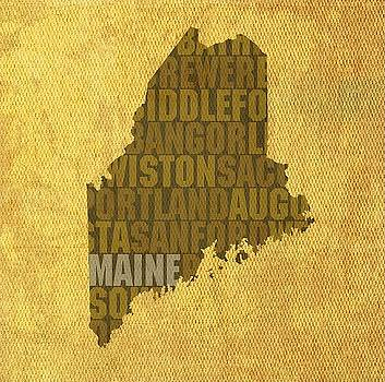 Maine State Words Wall Art by David Bowman