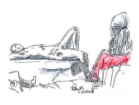 Frank Ramspott - Male Figure Drawing Laying Pose And Artists Fountain Pen Ink