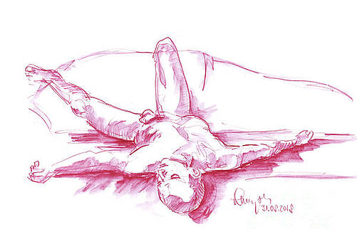 Frank Ramspott - Male Figure Drawing Laying Pose Watercolor Pencil