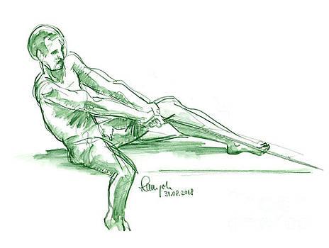 Frank Ramspott - Male Figure Drawing Rope Watercolor Pencil