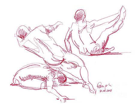 Frank Ramspott - Male Figure Drawing Short Poses Colored Pencil
