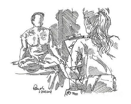 Frank Ramspott - Male Figure Drawing Sitting Pose And Artist Fountain Pen Ink