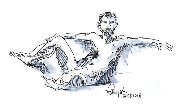Frank Ramspott - Male Figure Drawing Sitting Pose Colored Pencil And Ink