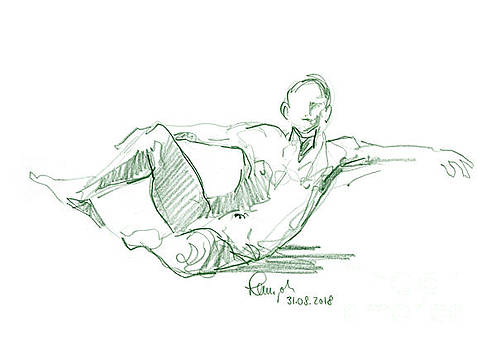 Frank Ramspott - Male Figure Drawing Sitting Pose Colored Pencil