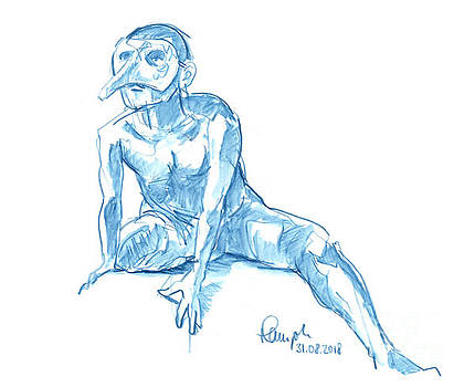 Frank Ramspott - Male Figure Drawing Sitting Pose Mask Watercolor Pencil