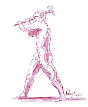 Frank Ramspott - Male Figure Drawing Standing Pose Axe Fountain Pen Ink