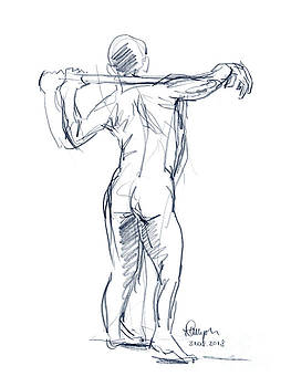 Frank Ramspott - Male Figure Drawing Standing Pose Colored Pencil