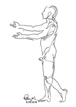 Frank Ramspott - Male Figure Drawing Standing Pose Fountain Pen Ink