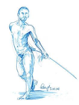 Frank Ramspott - Male Figure Drawing Standing Pose Rope Watercolor Pencil