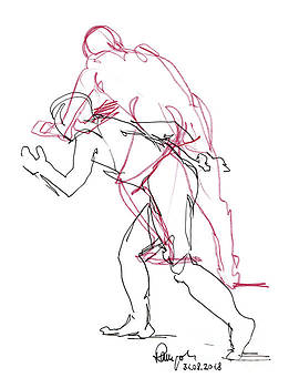 Frank Ramspott - Male Figure Drawing Standing Poses Fountain Pen Ink And Colored