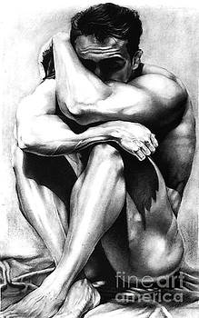 Male Nude Charcoal Original Fine Art Drawing by RjFxx at beautifullart com