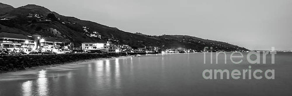 Paul Velgos - Malibu California at Night Black and White Panorama Photo