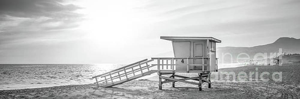 Paul Velgos - Malibu Zuma Beach Lifeguard Tower #4 Sunset Black and White Pano