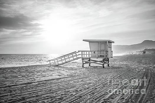 Paul Velgos - Malibu Zuma Beach Lifeguard Tower #4 Sunset in Black and White