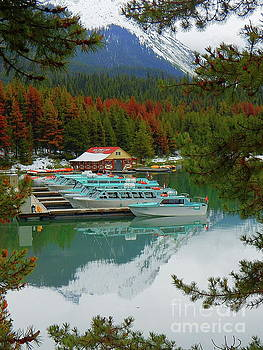 Maligne Lake Boathouse Jasper National Park Alberta Canada by Art Sandi