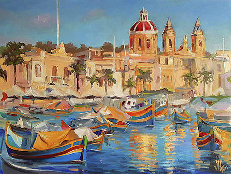 Vali Irina Ciobanu - Malta Marsaxlokk the fishing Village with colourful boats