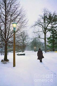 Man Walking on a Snowy Street by Jill Battaglia