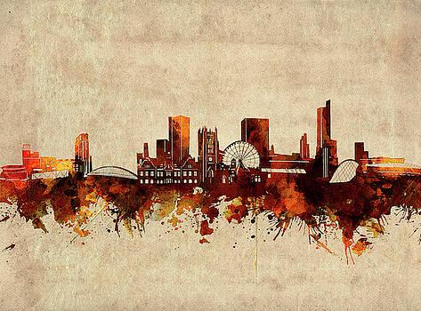 Manchester Skyline Sepia by Bekim Art