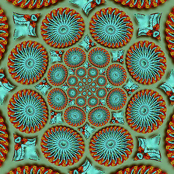 Mandala Art Teal Orange by Susan Leggett