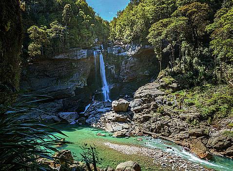 Mangatini Falls Charming Creek Walkway New Zealand by Joan Carroll