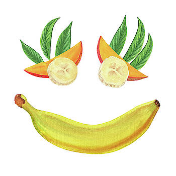 Mango Banana Smile Watercolor Food Illustration  by Irina Sztukowski