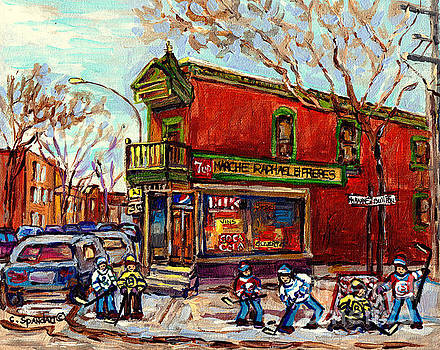 Marche Raphael Little Corner Store Mile End Hockey Art Debullion Brick Duplex C Spandau Street Scene by Carole Spandau