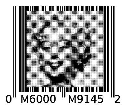 Marilyn Barcode 6000 Upc Halftone Dots by Robert R Splashy Art Abstract Paintings