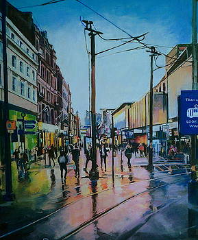 Market Street, Manchester, After Rain by Rosanne Gartner