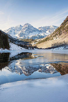 Maroon Bells Reflection Winter by Nathan Bush