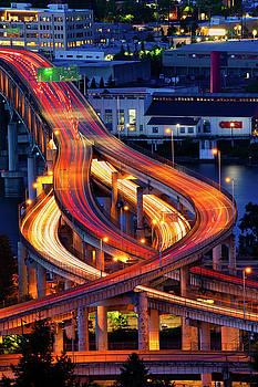 Marquam Bridge at Twilight by Jerry Fornarotto