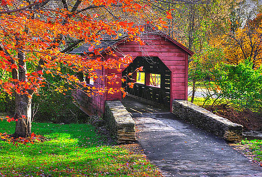 Maryland Country Roads - Baker Park, Carroll Creek Covered Bridge - Frederick Maryland by Michael Mazaika