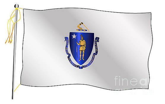 Massachusetts State Waving Flag And Flagpole by Bigalbaloo Stock