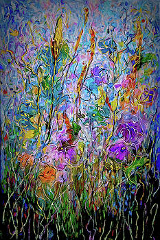 Meadow Flowers and Grass Abstract by OLena Art by OLena Art - Lena Owens