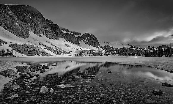 Medicine Bow Lake Marie bw by Jerry Fornarotto